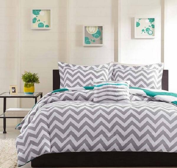 modern teen gray white blue geometric zigzag stripe duvet bed set full queen ebay. Black Bedroom Furniture Sets. Home Design Ideas