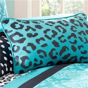 Teen blue black white damask dots leopard stripe comforter bed set full queen - Teen cheetah bedding ...