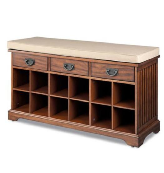 Chestnut Or Walnut Shoe Storage Bench Organizer Entryway