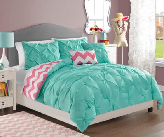 Teen girls turquoise pink white reversible pintuck chevron - Turquoise and pink bedroom ...