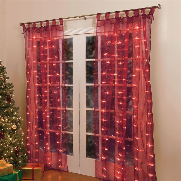 84 lighted pre lit christmas light window panel curtains