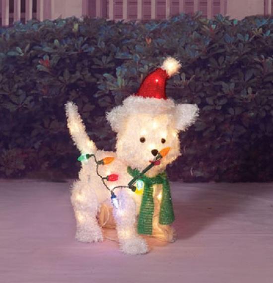 Outdoor lighted 24 santa puppy dog sculpture christmas for Outdoor christmas sculptures