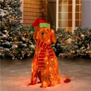 Pre lit lighted christmas 35 labradoodle dog tinsel for Pre lit outdoor decorations