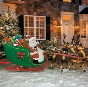 old fashioned santa claus reindeer sleigh metal yard art display outdoor decor ebay. Black Bedroom Furniture Sets. Home Design Ideas