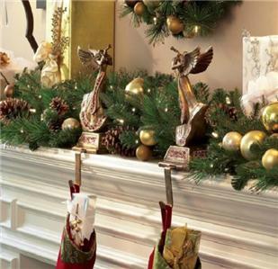 set of 2 gold red trumpeting angel mantle christmas. Black Bedroom Furniture Sets. Home Design Ideas