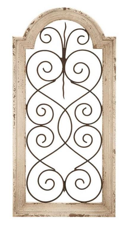 Wooden Gate Wall Decor : Quot metal wood ivory rustic distressed tuscan country