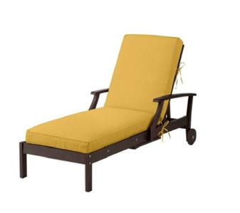 Sunbrella yellow outdoor chaise lounge replacement cushion for Aqua chaise lounge cushions