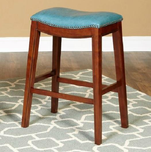 Upholstered Saddle Bar Stools Rumford Linen Saddle 24