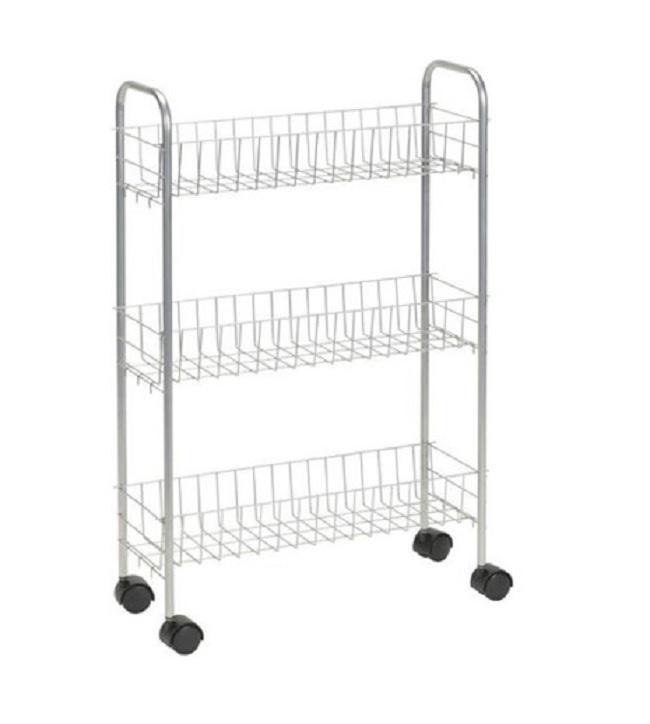 Slim Metal Rolling 3 Tier Basket Laundry Storage Utility