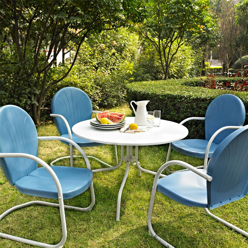 Blue white outdoor metal retro 5 piece dining table for Metal garden table and chairs