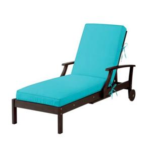 Sunbrella summer aqua blue outdoor chaise lounge for Aqua chaise lounge cushions