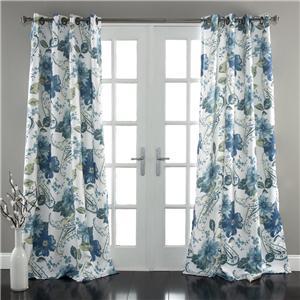 set of 2 gray blue white modern floral room darkening window curtains 84. Black Bedroom Furniture Sets. Home Design Ideas