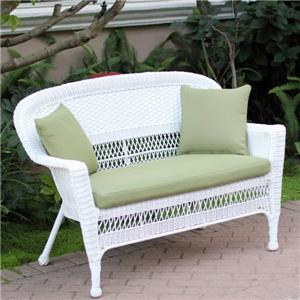 OUTDOOR WHITE RESIN WICKER SOFA SETTEE LOVESEAT W GREEN CUSHIONS Patio Furniture