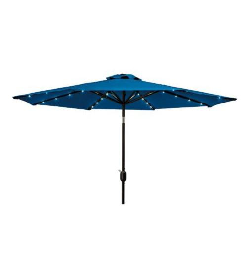 solar led lighted 9 foot market patio umbrella push button tilt 3. Black Bedroom Furniture Sets. Home Design Ideas