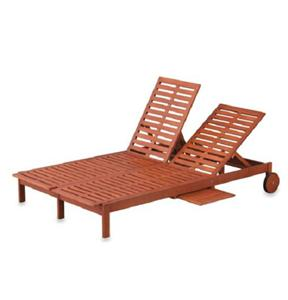 Double eucalyptus chaise lounge chair outdoor deck patio for Chaise eucalyptus