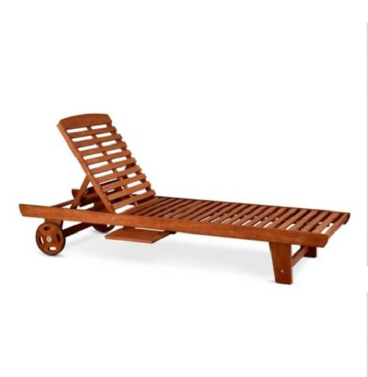 SINGLE EUCALYPTUS CHAISE LOUNGE CHAIR Outdoor Deck Patio Pool Furniture LOUNG