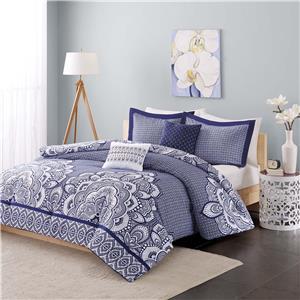 navy blue white geometric floral medallion comforter bedding set twin full queen ebay. Black Bedroom Furniture Sets. Home Design Ideas