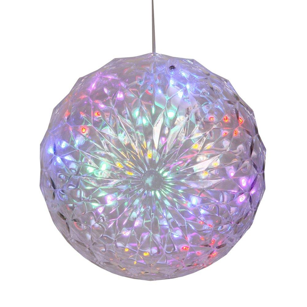 30 led lights lighted pre lit hanging ornament ball for Led outdoor christmas ornaments