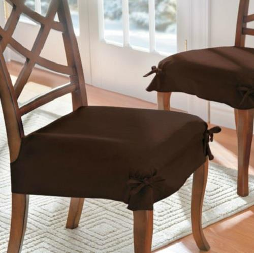 SET OF 2 ADJUSTABLE MICROSUEDE DINING CHAIR COVERS SEAT