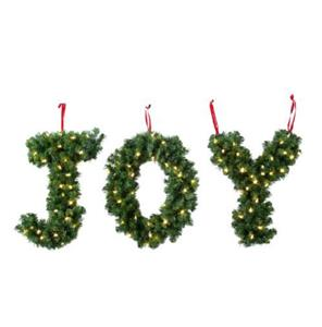 sale outdoor lighted cordless hanging joy letters greenery With joy greenery letters