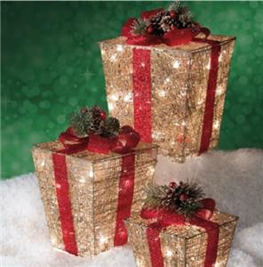 Set Of 3 Pre Lit Lighted Gold Christmas Gift Boxes
