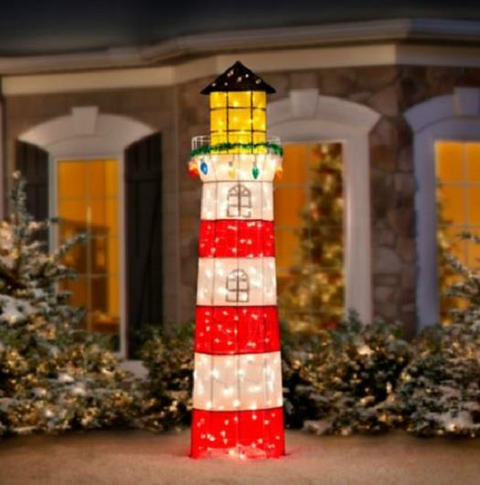 6 foot outdoor lighted pre lit lighthouse christmas for Pre lit outdoor decorations
