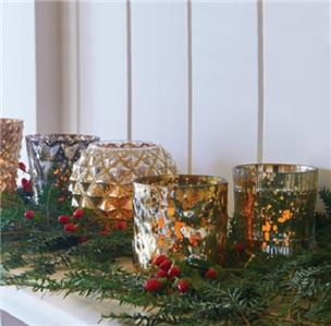 Sale 5pc gold silver mercury glass votive candle holders for Christmas pillar candle holders