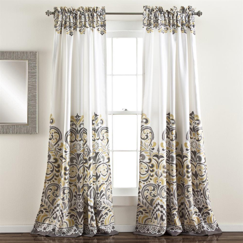 Grey Gray Yellow White Modern Global Paisley Curtains Set