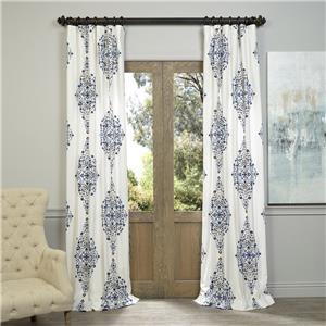 Gorgeous luxury premium cotton blue brown white floral for Crest home designs curtains