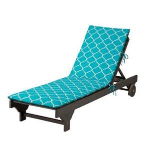 Blue geometric trellis outdoor chaise lounge cushion pad for Blue chaise lounge cushions