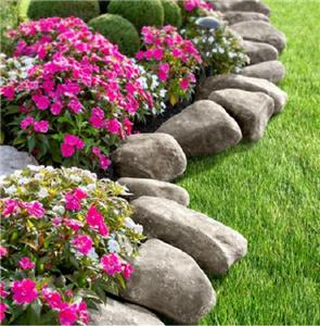 10 feet faux stone rock landscape edging garden border for Decorative stone garden border