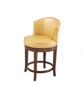 Casual Modern Camel Faux Leather Swivel Counter Stool Back