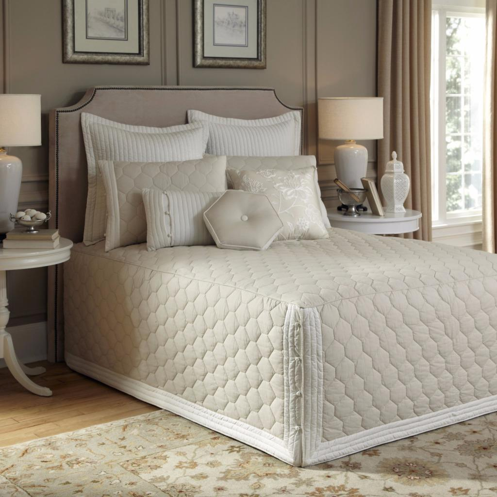 Beautiful soft taupe elegant tailored fitted quilted for Beautiful bedspreads