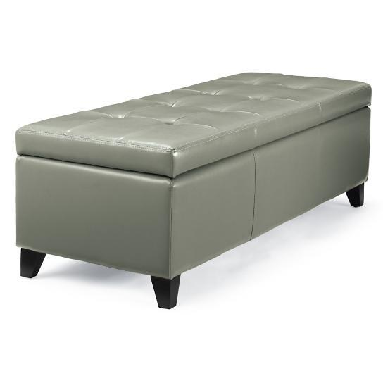 Tufted Foyer Bench : Textured bonded leather modern tufted storage bench
