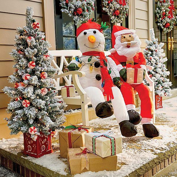 Stuffable lighted santa claus or snowman decoration for Outdoor seasonal decorations