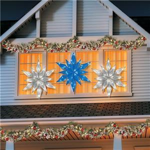 36 lighted pre lit led hanging snowflake outdoor - Snowflake exterior christmas lights ...