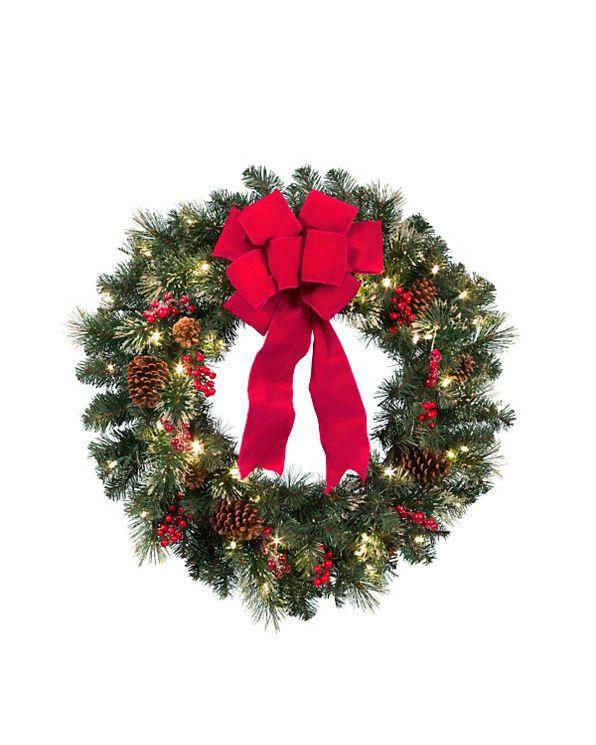 30 or 36 cordless pre lit decorated christmas wreath. Black Bedroom Furniture Sets. Home Design Ideas