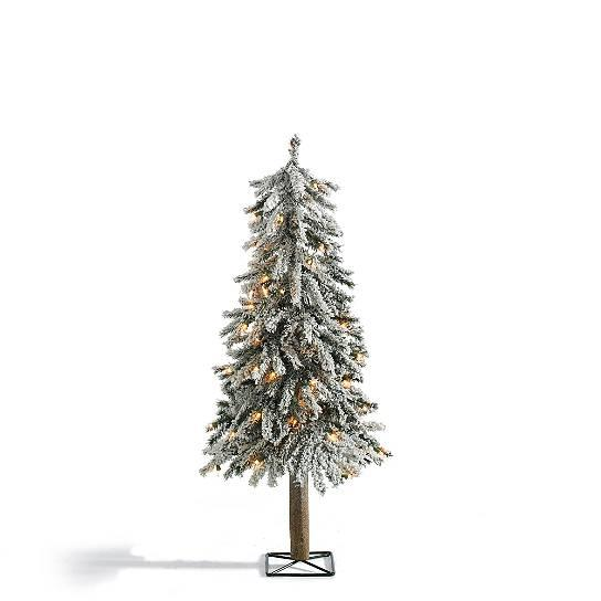 Realistic rustic snow lighted pre lit alpine tree indoor for Indoor christmas decorations sale
