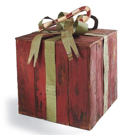 Artisan rustic wood tin heirloom christmas gift present
