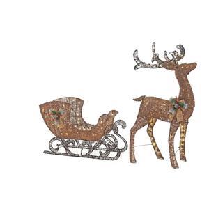 lighted pre lit rustic grapevine reindeer sleigh outdoor. Black Bedroom Furniture Sets. Home Design Ideas
