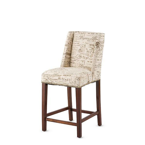 Beige Brown Upholstered Paris French Script Bar Stools