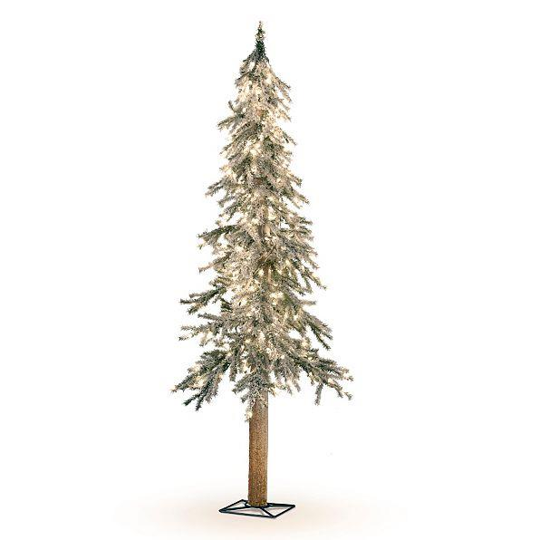 Lighted pre lit flocked alpine christmas tree indoor for Artificial christmas decoration tree