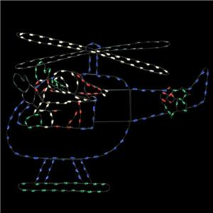 metal wire lighted animotion santa helicopter display outdoor christmas decor. Black Bedroom Furniture Sets. Home Design Ideas