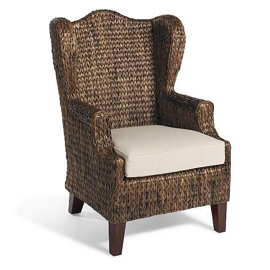 Casual coastal natural fiber wingback club chair living for Casual chairs for family room