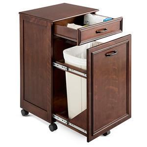 walnut rolling mobile kitchen trash bin cabinet storage. Black Bedroom Furniture Sets. Home Design Ideas