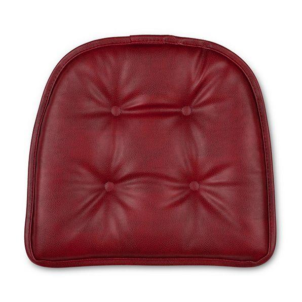 Set Of 2 16x15 Faux Leather Tufted Kitchen Chair Pads