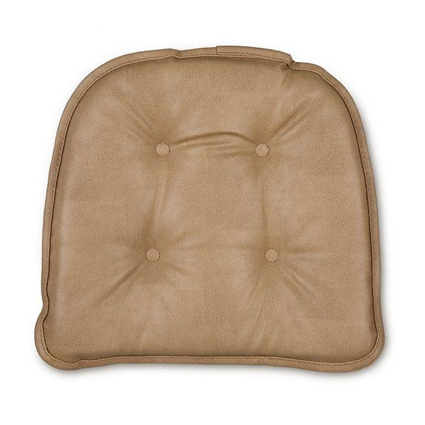 SET OF 2 16x15 Faux Leather Tufted Kitchen Chair Pads Cushions Non Slip Gripp