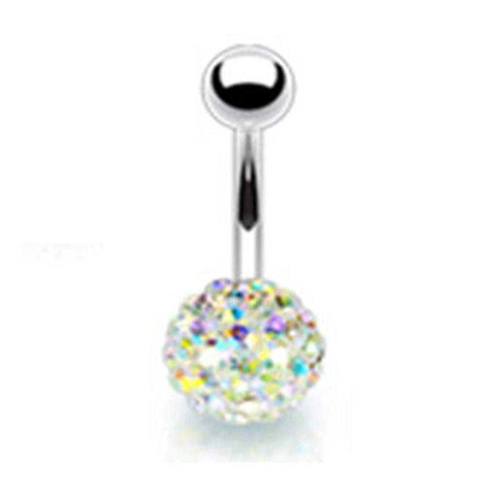 Multi Crystal Ferido Ball Belly Button Stainless Steel Barbell Ring Navel B406 eBay