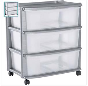 New Keter 3 Drawer Wide Plastic Tower Storage Chest Unit