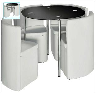 new hygena round space saver black dining table white chair set